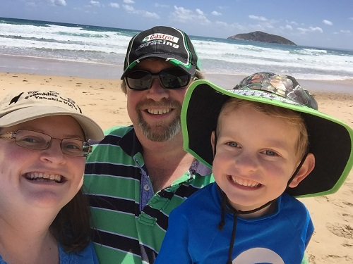 Sean, Angela & Joshua (owners of Promhills Cabins) at Darby Beach in Wilsons Prom